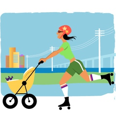 Running with a stroller vector