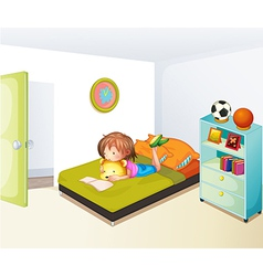 A girl studying in her clean bedroom vector