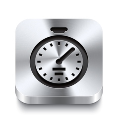 Square metal button perspektive - stopwatch icon vector