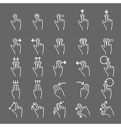 Touch gestures line icons set vector