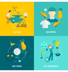 Golf icons flat vector