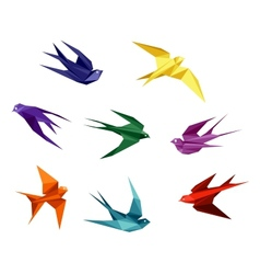 Swallows in origami style vector