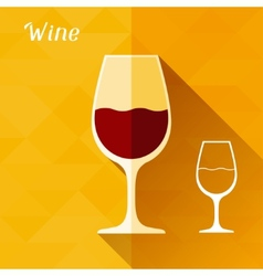 With glass of wine in flat design style vector