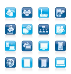 Communication and technology equipment icons vector