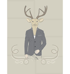 Hand drawn of deer in a suit vector
