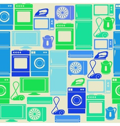 Seamless pattern with domestic electric appliances vector