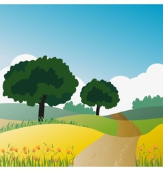 Countryside trees and natural green vector