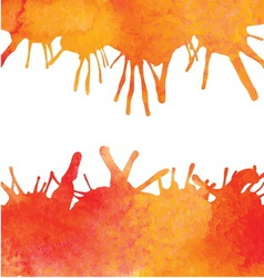 Orange watercolor paint background with blots vector