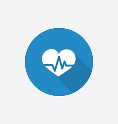 Heart pulse flat blue simple icon with long shadow vector