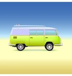 Retro bus with surf boards vector