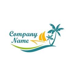 Beach boat travel holiday logo vector