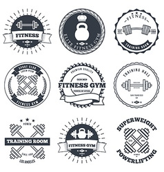 Bodybuilding and fitness gym logos label and vector