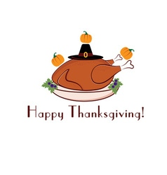 Happy thanksgiving with turkey pilgrim hat and vector