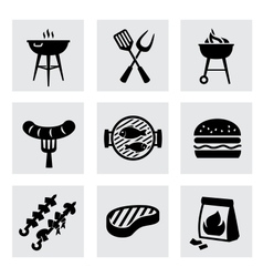 Black barbecue icons set on gray vector