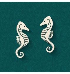 Seahorse marine background vector