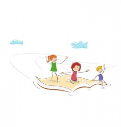 Kids flying on book vector