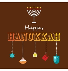 Happy hanukkah greeting card design vector