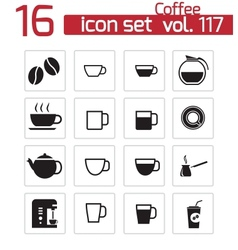 Black coffe icons set vector
