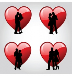 Couples and hearts vector