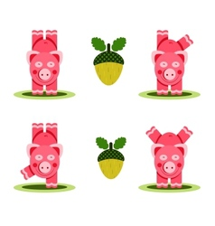 Small pigs playing vector
