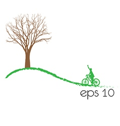 Tree an bicycle over white background vector