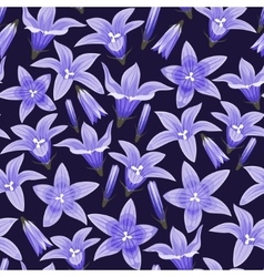 Seamless background with bellflowers vector