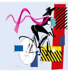 Fashion girl by bicycle vector