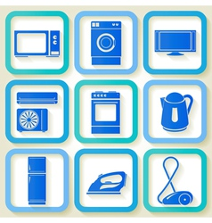 Set of 9 retro icons of domestic appliances vector