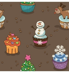 Christmas cupcake pattern vector