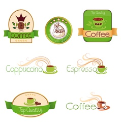 Set of logos for coffee green vector