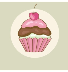 Birthday card with cherry cupcake vector