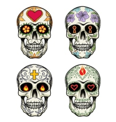 Skulls with flowers vector