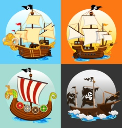 Pirate ship collection set vector