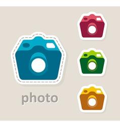 Photo camera lens icon vector