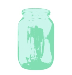 Empty glass jar isolated on a white background vector