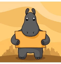 Cute hand drawn hippo with empty banner vector