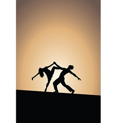 Dancing couple silhouettes sunset vector