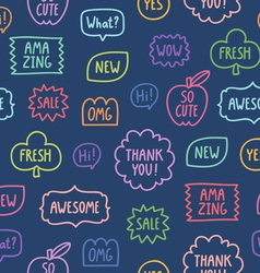 Colorful outline phrases seamless pattern on blue vector