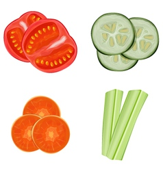 Vegetables sliced vector