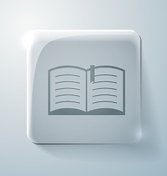 Open book glass square icon with highlights vector