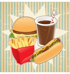 Retro background with fast food vector