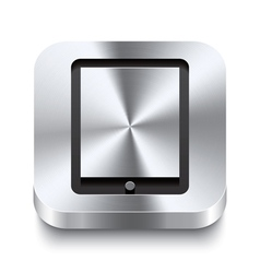 Square metal button perspektive - tablet icon vector