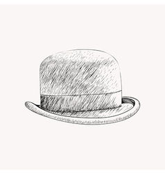 Sketch black bowler hat or derby cut out hand vector