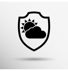 Rainy weather icon with clouds and umbrella vector