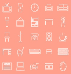 Living room line icons on orange background vector