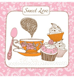 Retro sweet tea time card vector