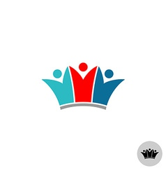 Three people in a crown shape logo vector