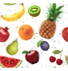 Pattern pixel fruits vector
