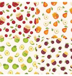 Set of fruit seamless patterns vector