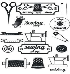 Set of vintage tailor labelssewing workshop vector